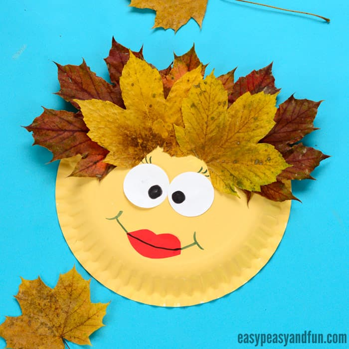 Leaf Face Paper Plate Craft for Kids to Make