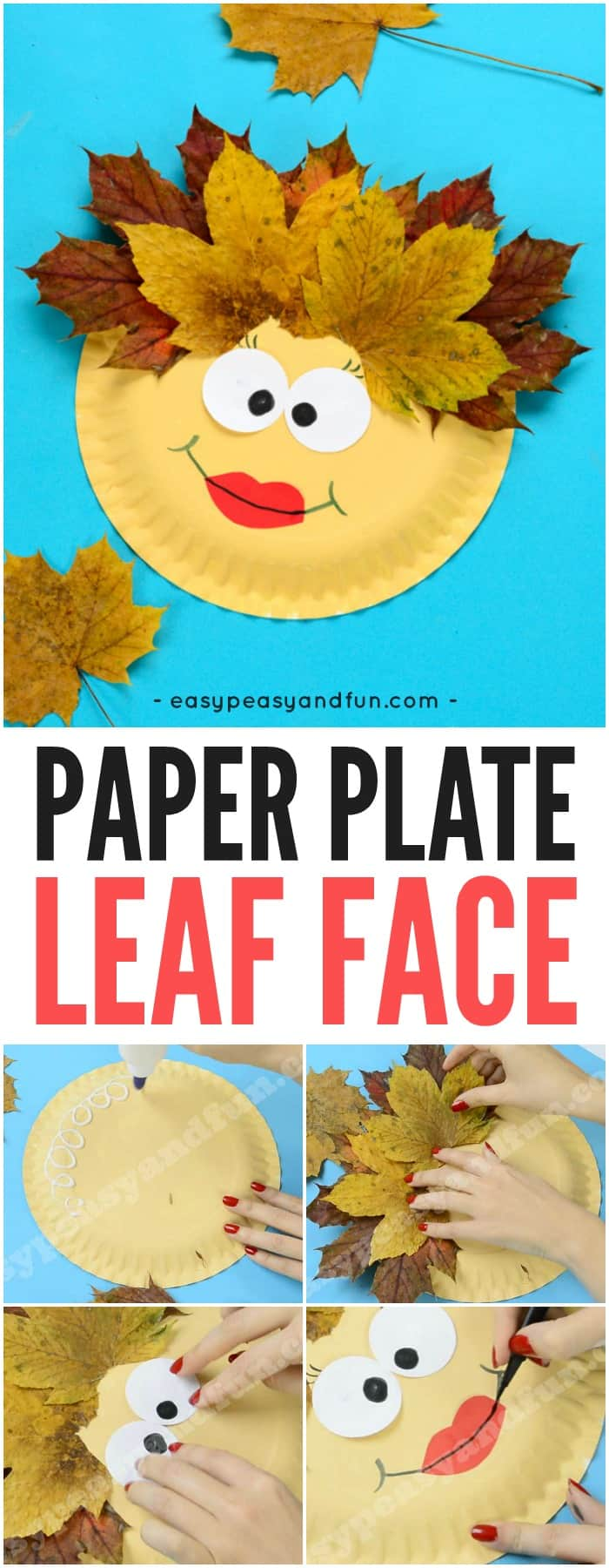 Leaf Face Paper Plate Craft for Kids. Fun Fall leaf activity for kids to make