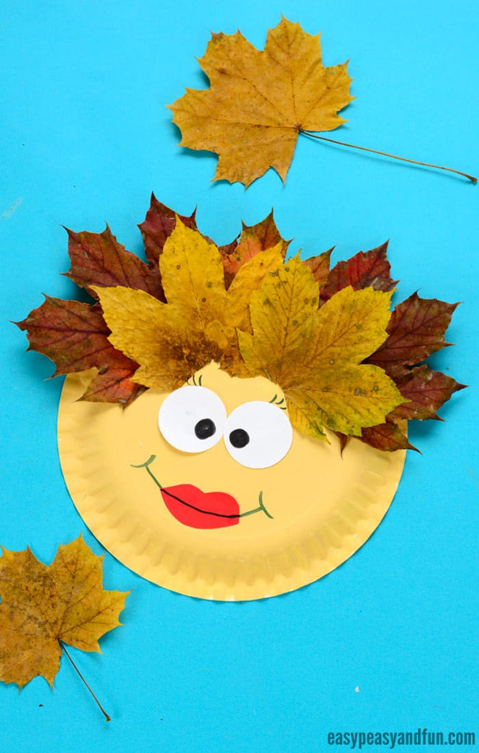 Leaf Face Paper Plate Craft for Kids