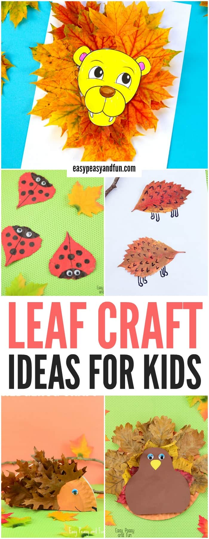 Leaf crafts for kids. Super fun Fall craft activities for kids to make.
