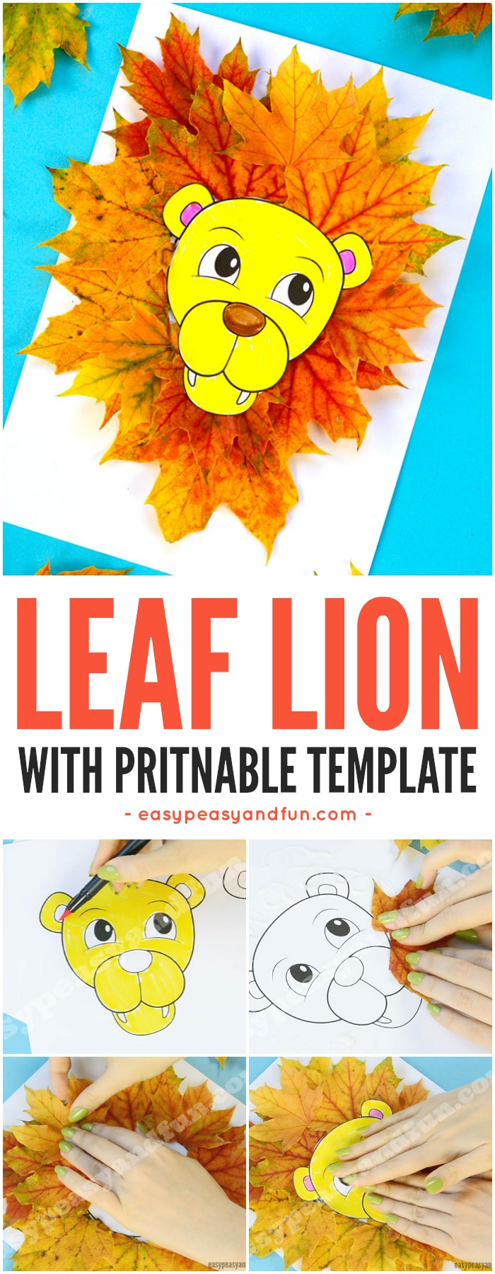 Lion leaf craft for kids with printable template. Fun Fall craft activity for kids in classroom or at home.