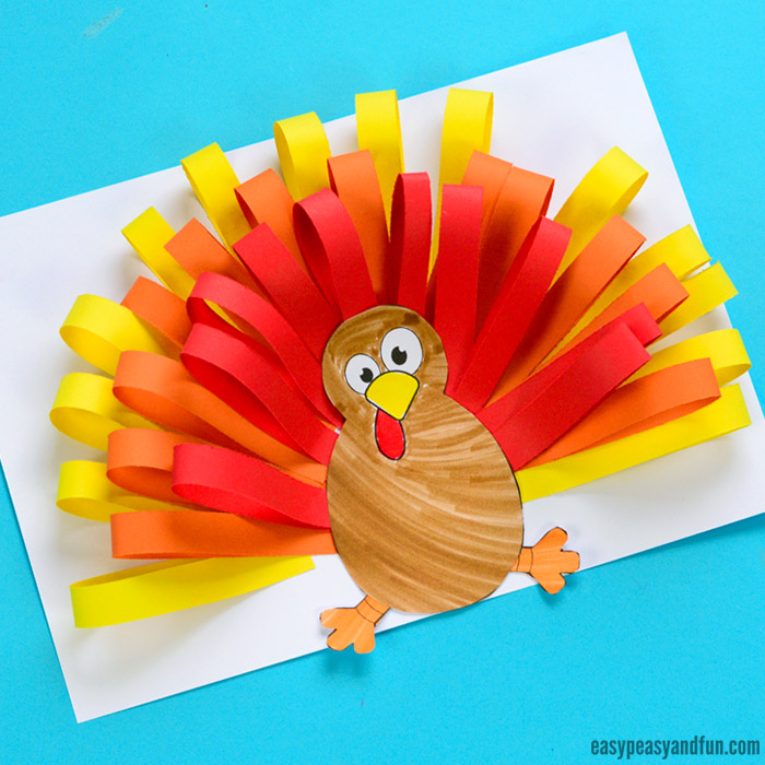 paper strips turkey craft for kids - Pictures Of Turkeys For Kids 2