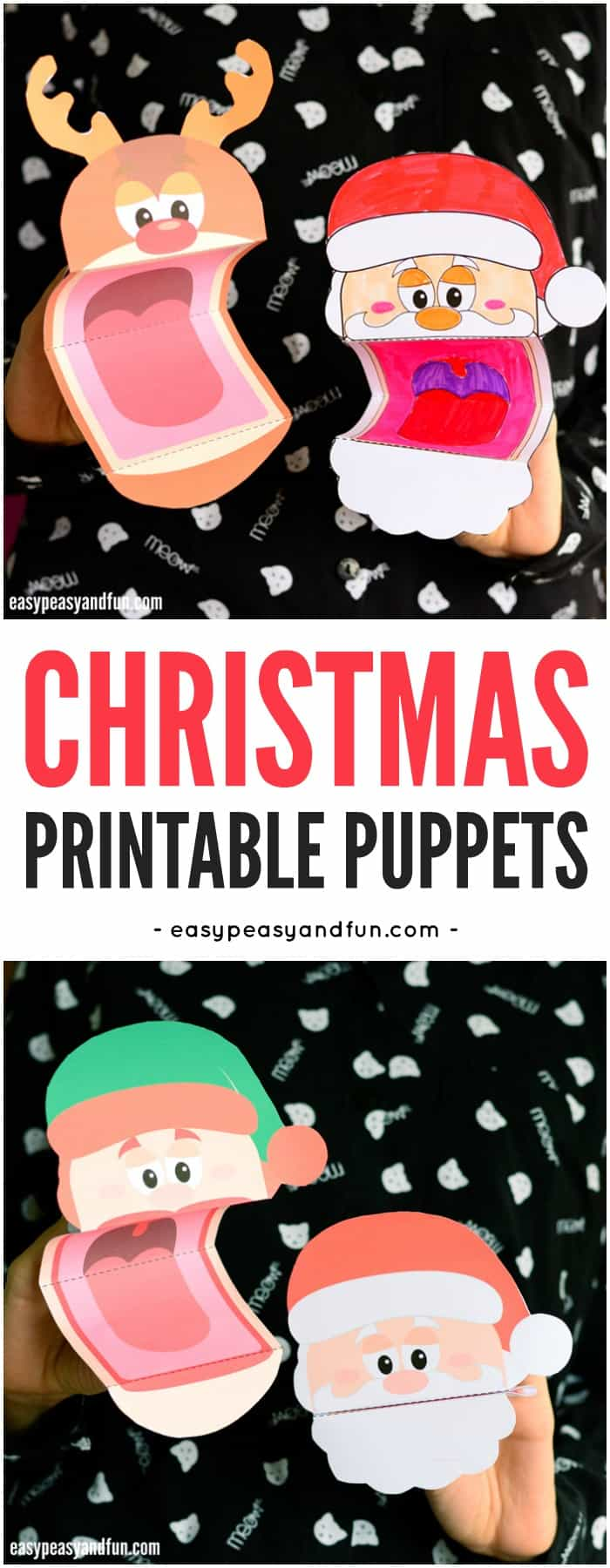 Printable Christmas Puppets Santa Elf and Reindeer