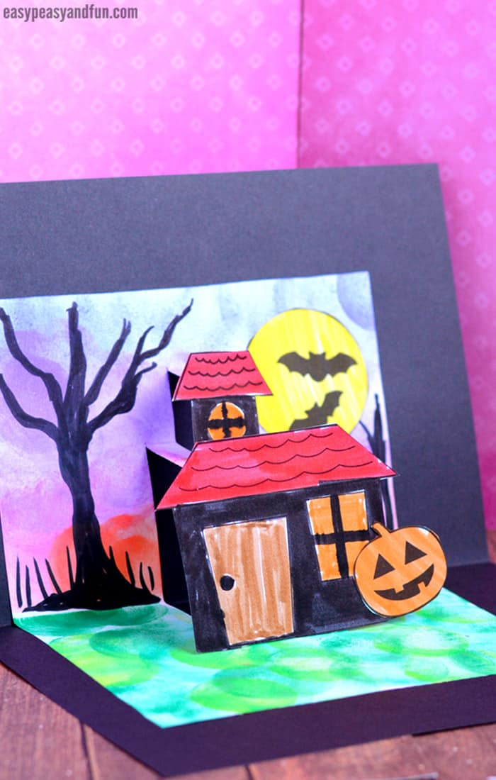 photograph about Printable Pop Up Cards named Halloween Pop Up Card Template - Basic Peasy and Entertaining