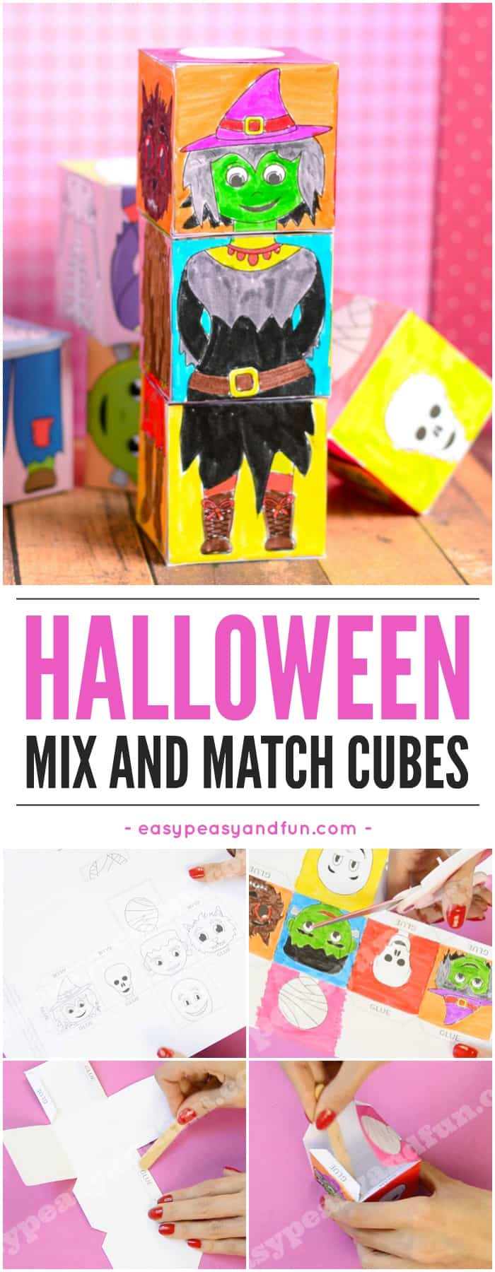 Printable Halloween mix and match cubes. Super fun Halloween activity for kids in classroom or at home.