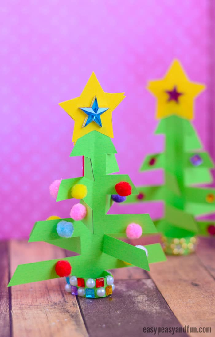 Simplest 3D Paper Christmas Tree Craft for Kids #ChristmasTreeCraft #Christmascraftsforkids #Christmas #Craftsforkids