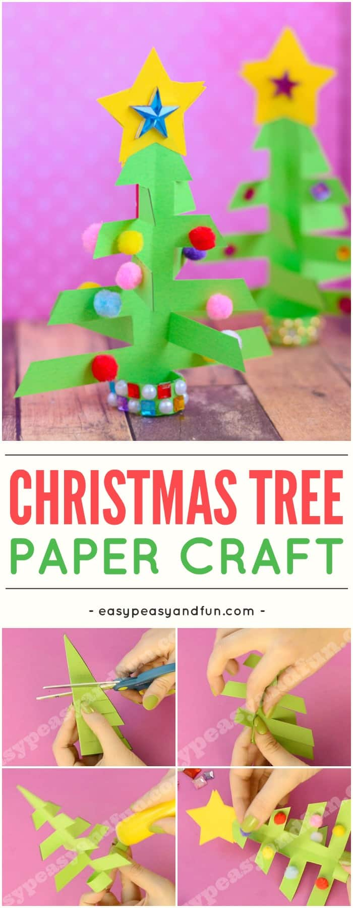 Simplest 3D paper Christmas tree. Super fun Christmas activity for kids to make. #ChristmasCrafts #ChristmasTreeCraft #Christmascraftsforkids #Christmas #Craftsforkids