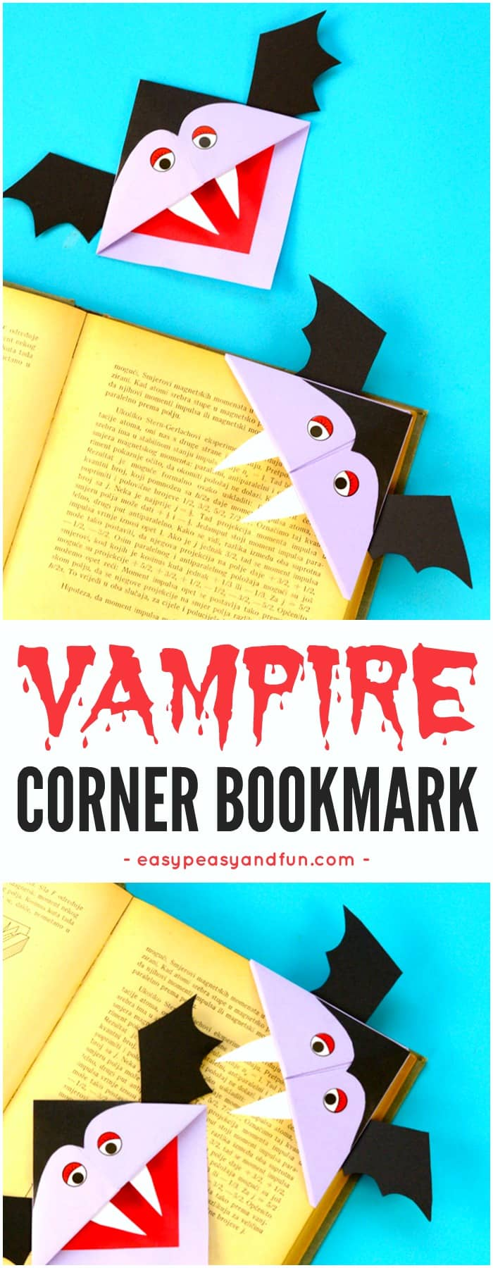 Vampire corner bookmark. Fun Halloween paper craft for kids to make.