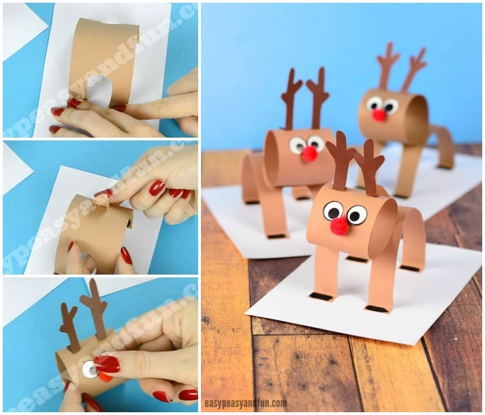 3D Construction Paper Reindeer Christmas Craft for Kids