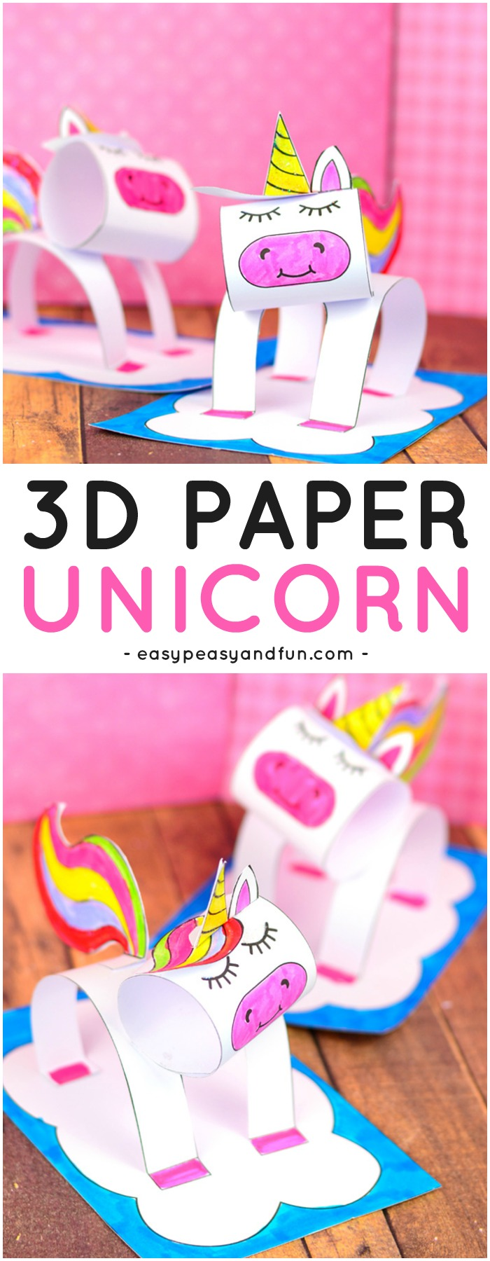 3d Construction Paper Unicorn Craft Printable Template Easy Peasy