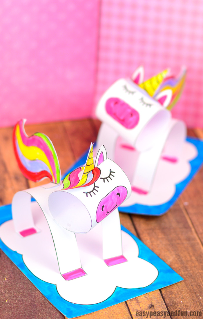 3D Construction Paper Unicorn Craft for Kids