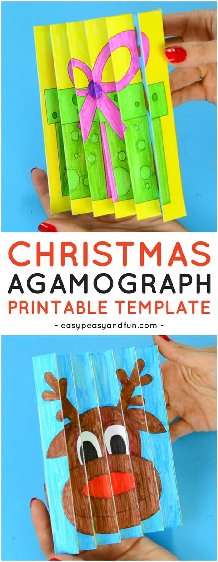 Christmas Agamograph Printable Template for Kids. Fun Christmas Printable Activity for Kids.
