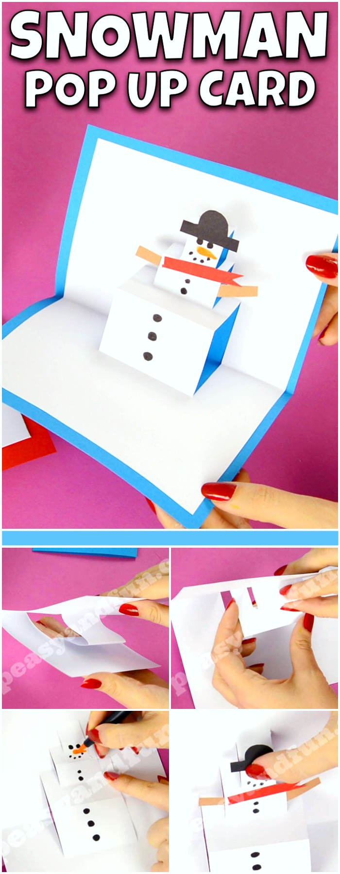 Snowman Christmas Cards Ideas.Snowman Pop Up Card Easy Peasy And Fun