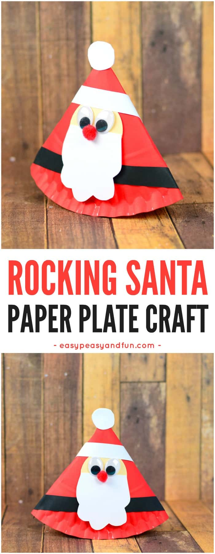 Cute Rocking Paper Plate Santa Craft for Kids. A Super Fun Christmas Craft Idea for Kids to Make. #Christmascraftsforkids #Paperplatecraftsforkids #Santacraftsforkids