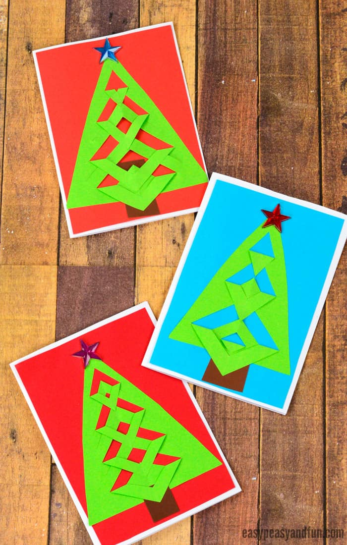 DIY Easy Festive Tree Christmas Card Idea for Kids to Make #DIYChristmascard #Christmascraftsforkids #Christmascraftideasforkids