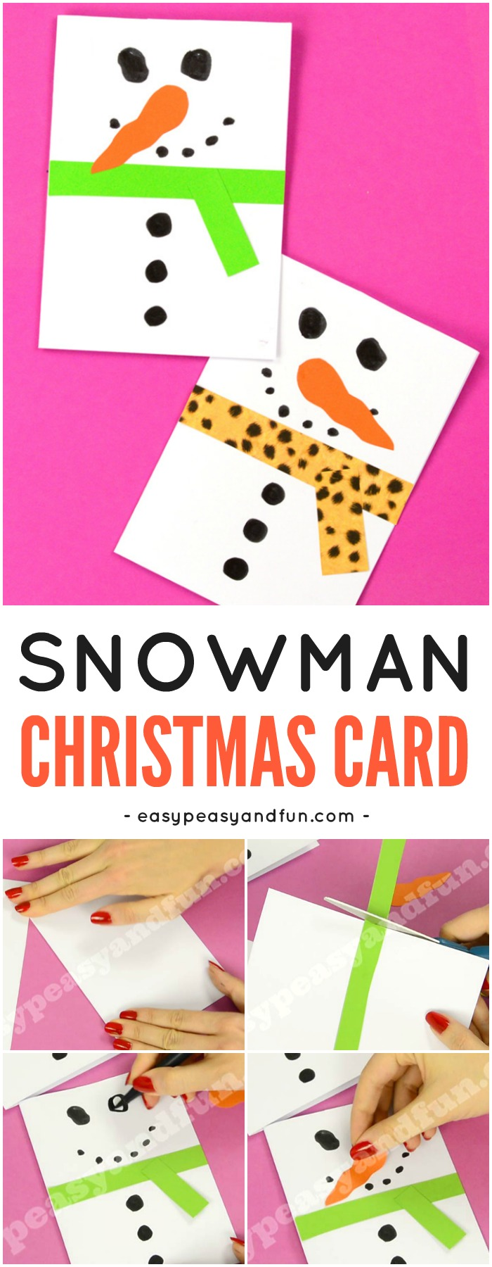 Easy Christmas Cards To Make With Children.Snowman Christmas Card Easy Peasy And Fun