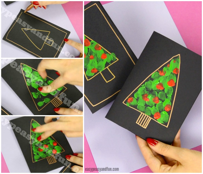 Fingerprint Christmas Tree Card Craft