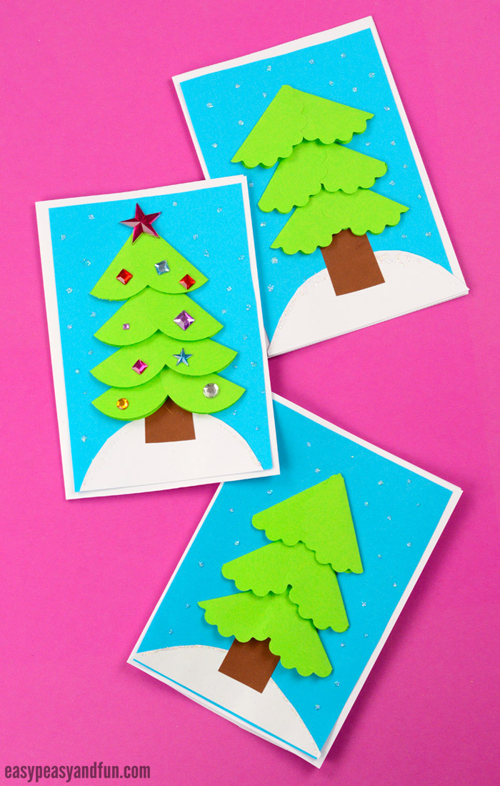 Paper Circle Christmas Card Idea for Kids