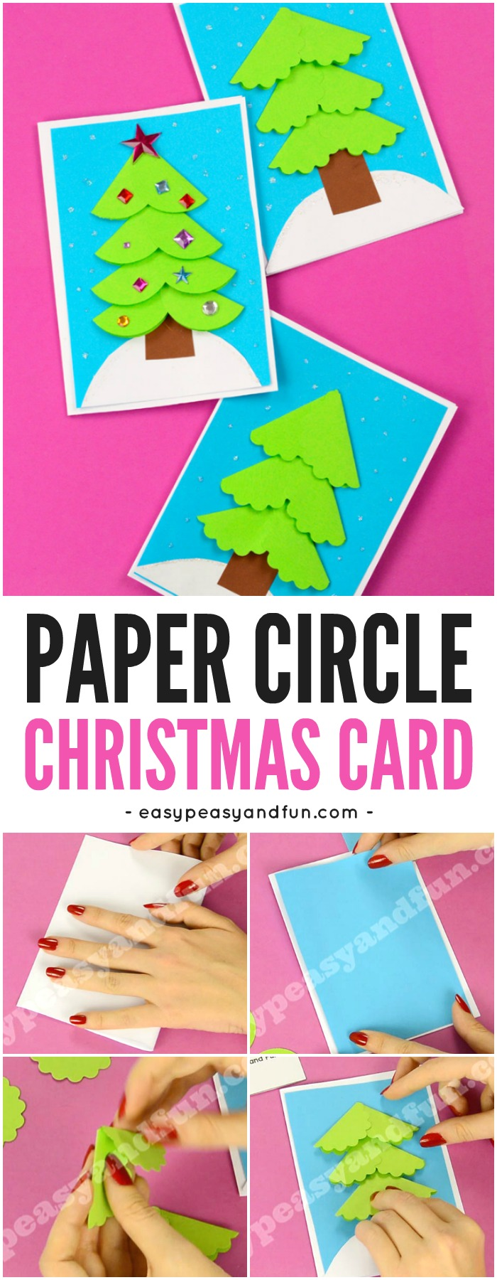 Paper Circle Homemade Christmas Card - Easy Peasy and Fun