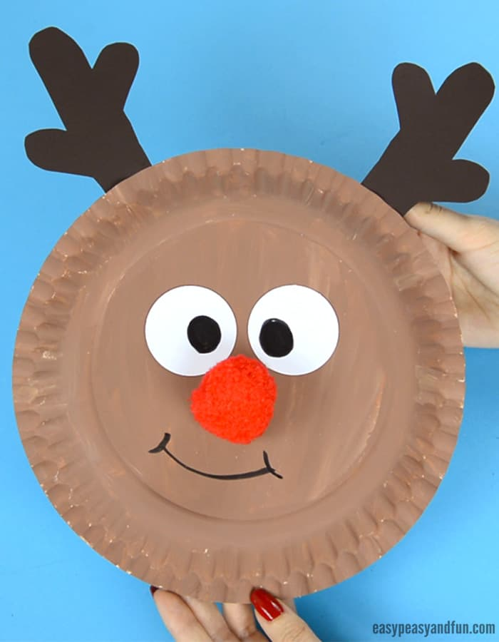 Reindeer Paper Plate Craft With A Cute Red Nose Easy Peasy