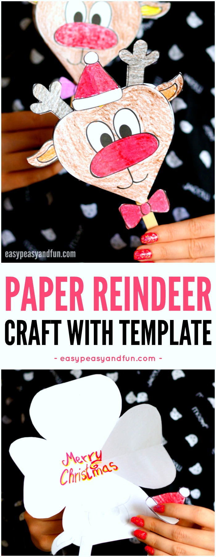 Paper Reindeer Craft With Printable Template for Kids to Make. Super fun Christmas paper activity for kids.