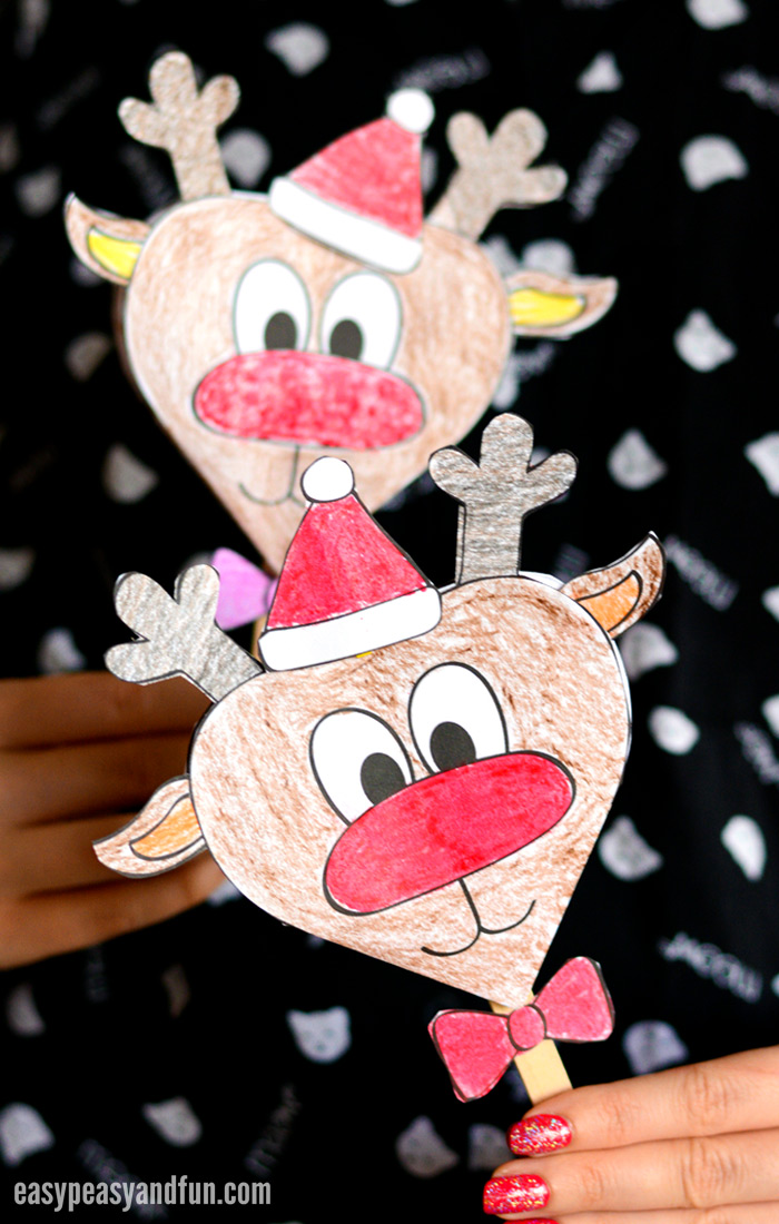 photograph about Pin the Nose on the Reindeer Printable titled Paper Reindeer Craft With Printable Template - Basic Peasy