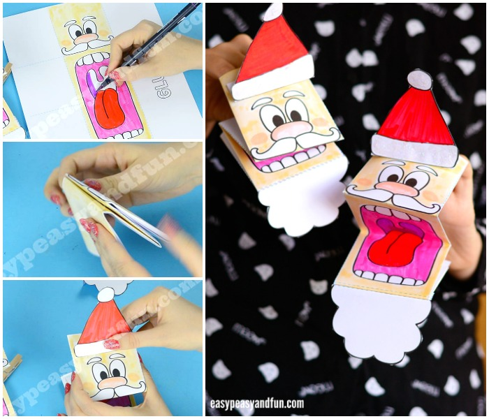 Printable Adorable Santa Paper Puppet