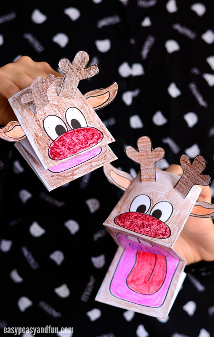 Printable Cute Reindeer Paper Puppet
