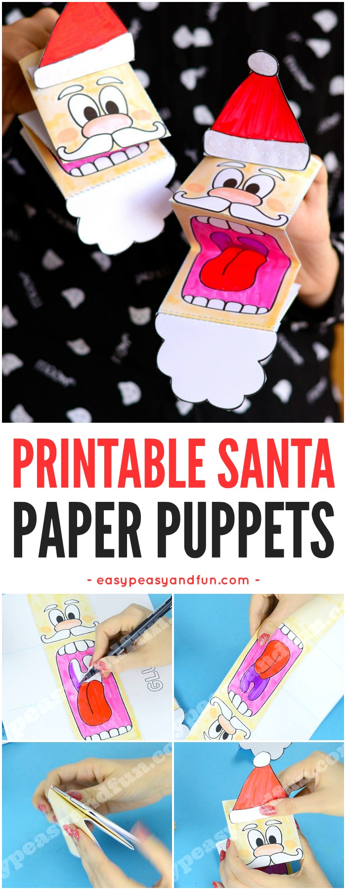 Printable Santa Paper Puppet. Fun Christmas craft activity for kids to make.