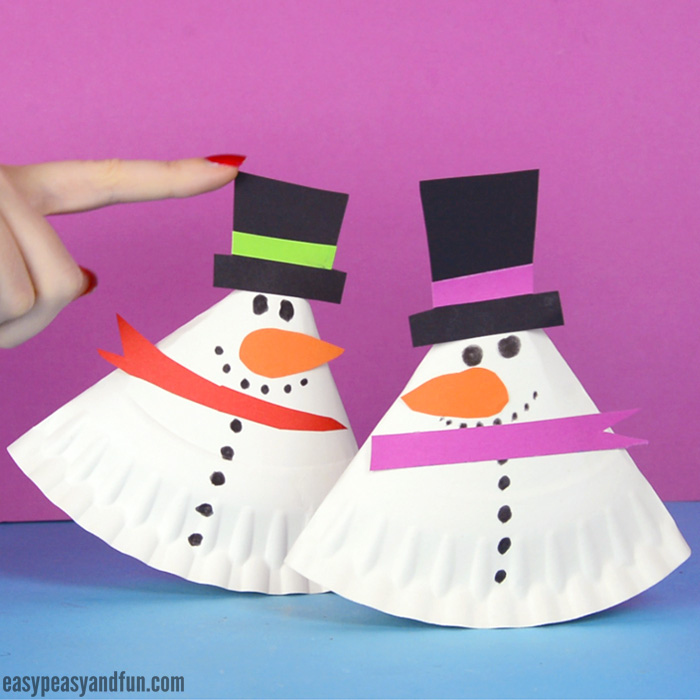 Rocking Paper Plate Snowman Craft