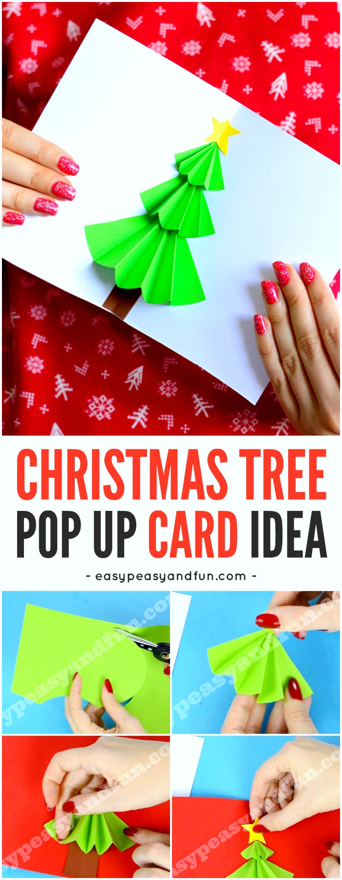 Christmas tree pop up card easy peasy and fun for Pop up card craft