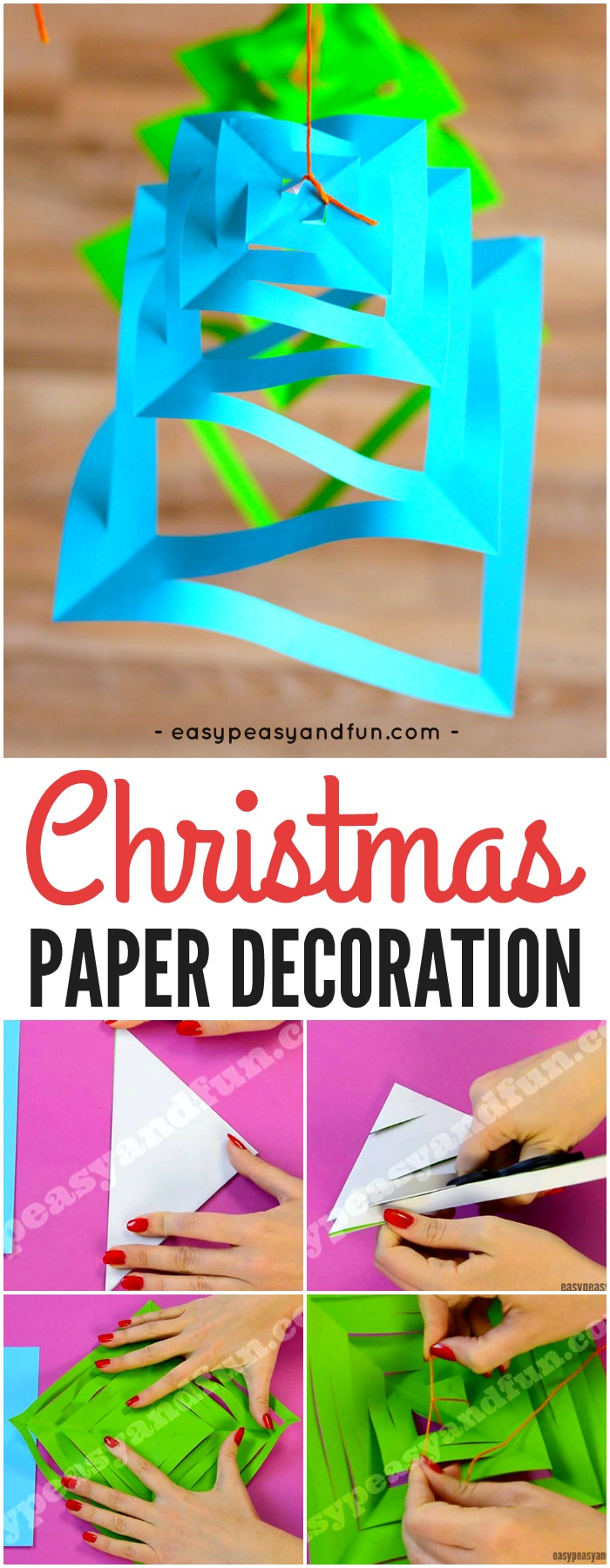Simple Paper Christmas Decorations Craft for Kids. Fun Christmas paper craft for kids to make. #Christmascraftsforkids #papercraftsforkids #craftsforkids