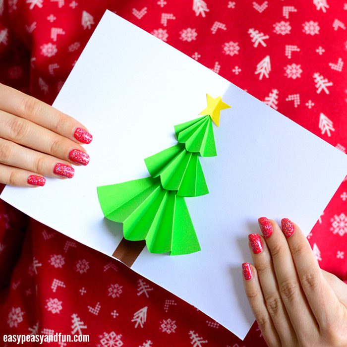 Christmas Tree Pop up Card Idea for Kids