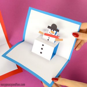 Snowman Pop Up Card Christmas Craft for Kids