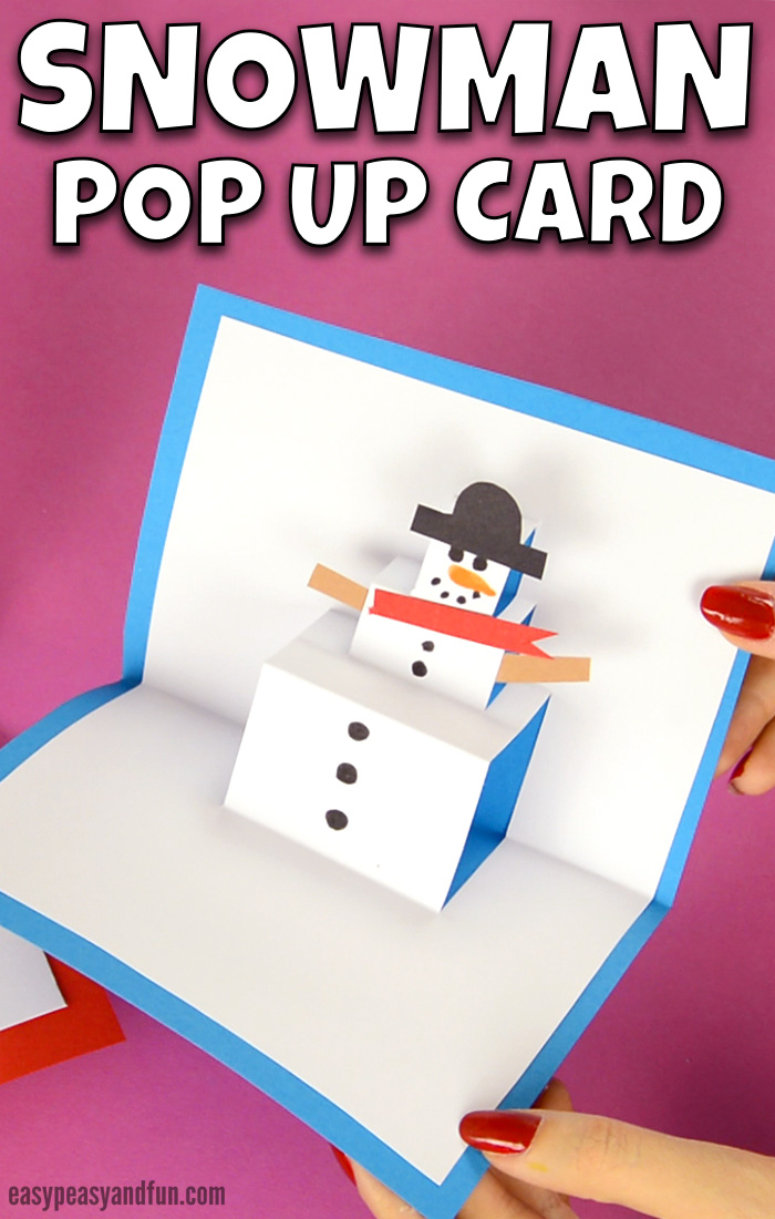 Snowman Pop Up Card Christmas Craft for Kids. DIY Christmas pop up card for kids to make.