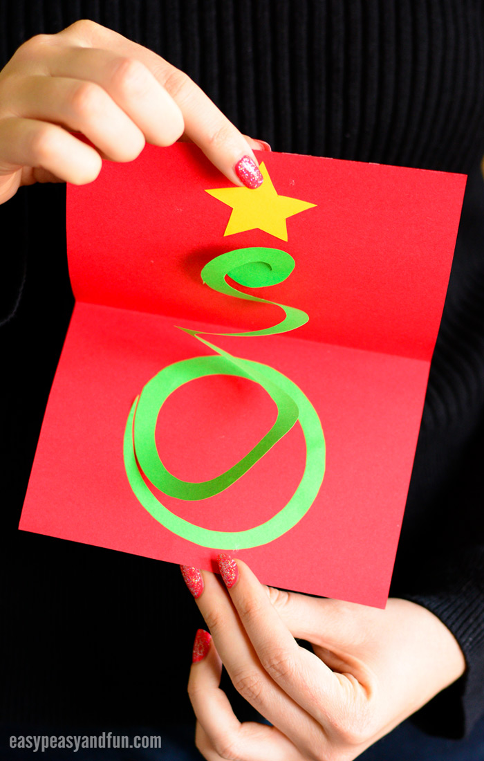 Spiral Christmas Tree Card Craft for Kids