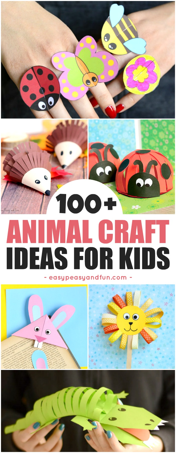 Super Fun Animal Crafts for Kids. Fun crafting ideas from bugs, zoo animals, farm animals, ocean animals and more. Perfect art and crafts for home or classroom #craftsforkids #preschool #kindergarten