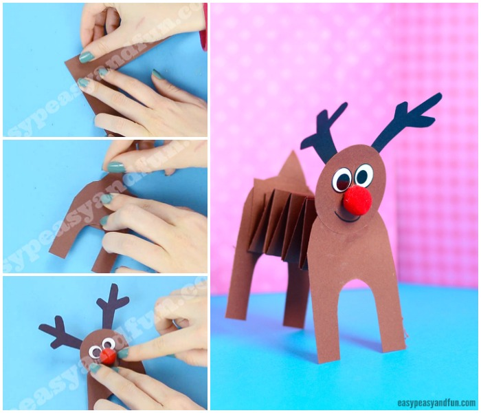 Accordion Paper Reindeer Craft for Kids to Make