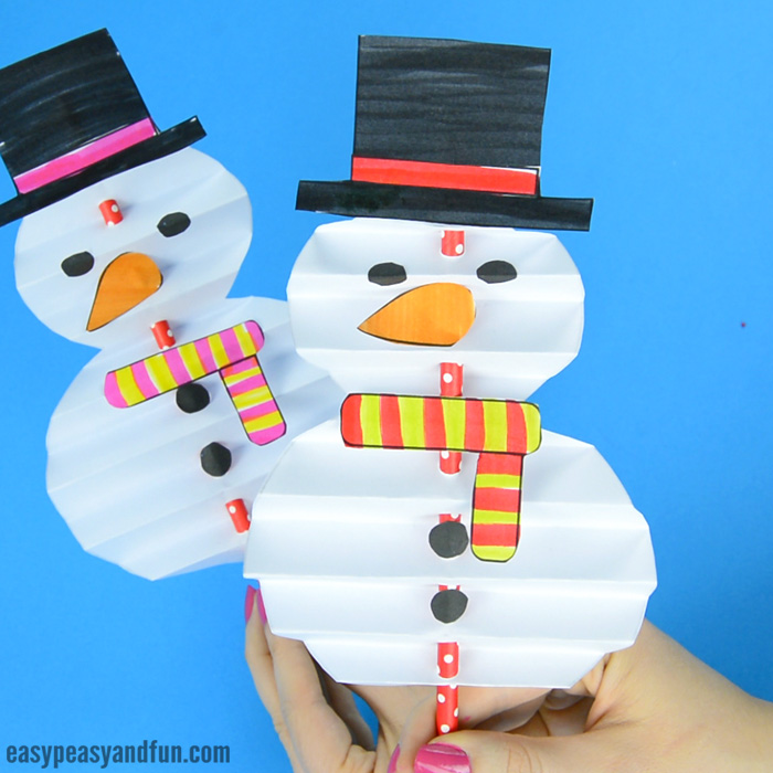 Accordion Paper Snowman Craft for Kids