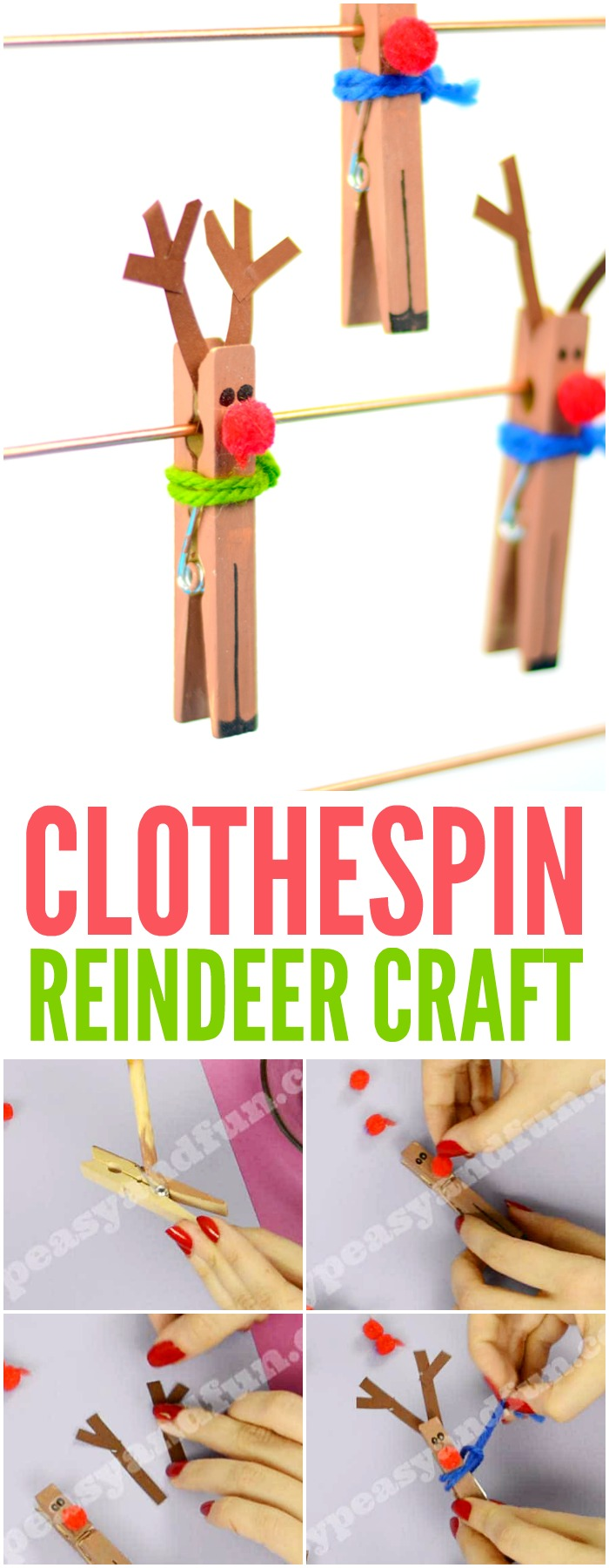 Clothespin Reindeer Craft for Kids. Super fun and simple Christmas craft idea for kids to make.
