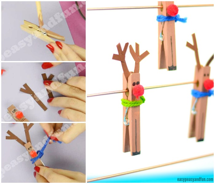 Cute Clothespin Reindeer Craft