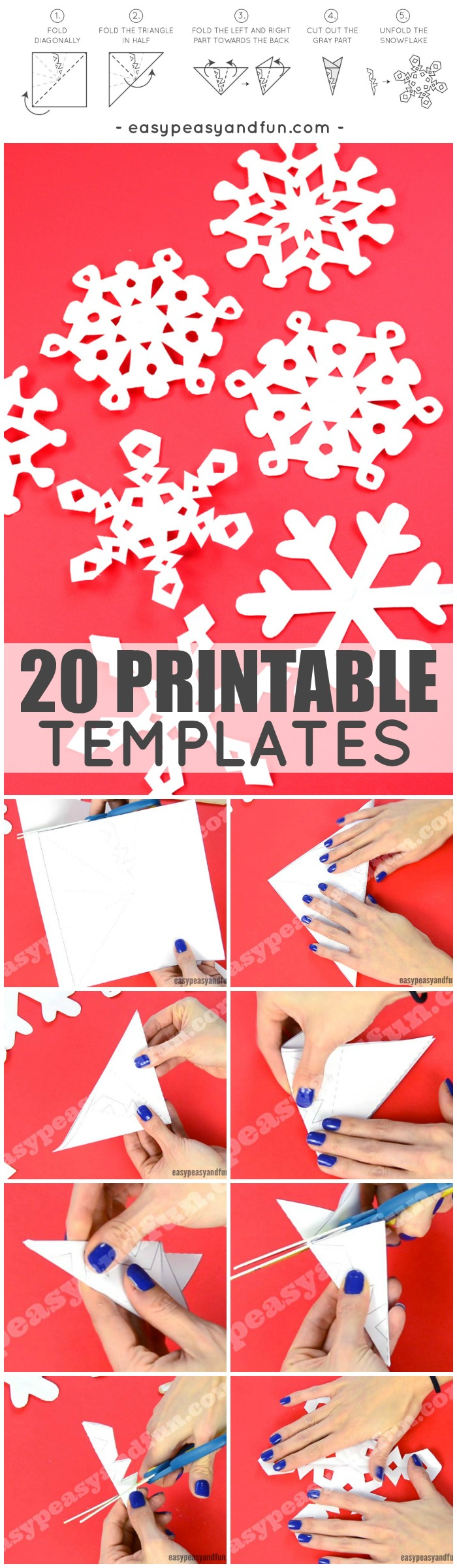 How To Make Paper Snowflakes with 20 Printable Templates and Designs