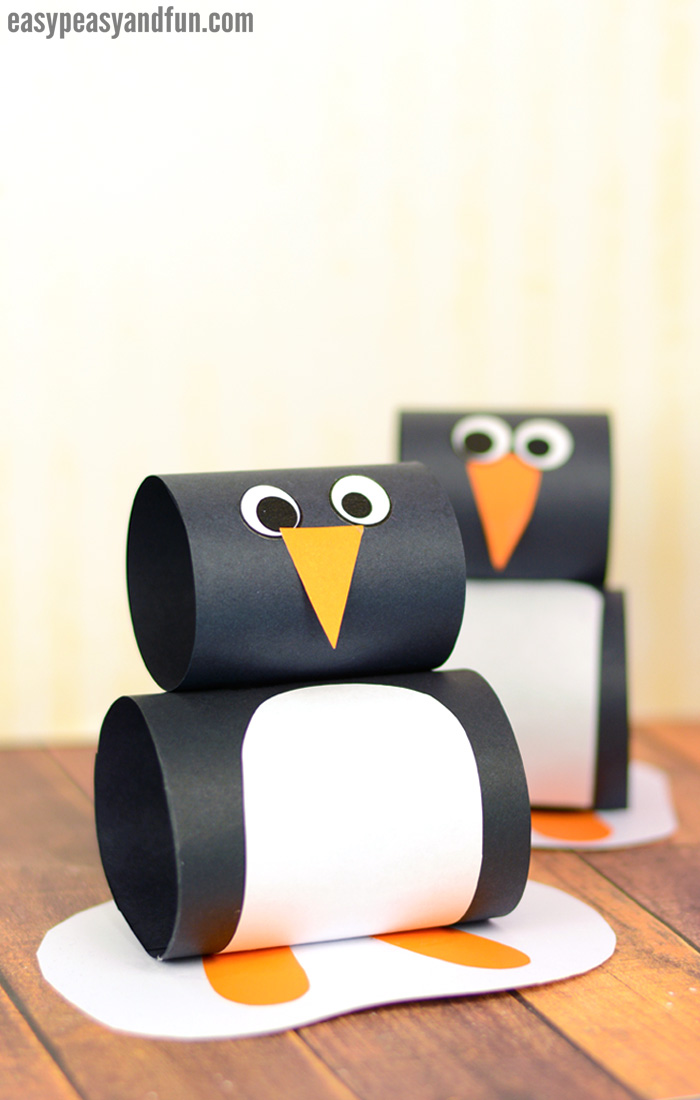 Paper Penguin Craft for Kids. Simple paper craft Winter idea for kids to make.