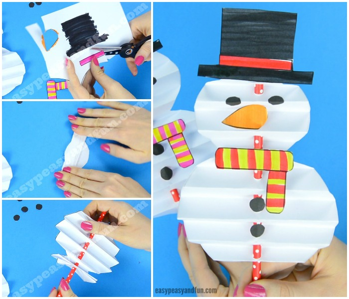 Accordion Paper Snowman Craft for Kids to Make