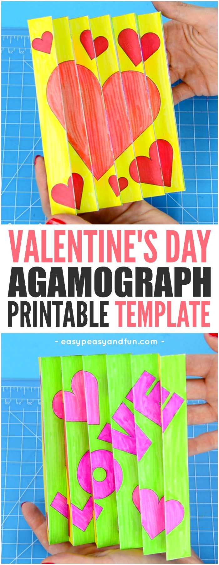 Printable Valentine's Day Agamograph Template Craft for Kids to Make #Valentine'sdaycraftforkids #craftsforkids #craftswithtemplate
