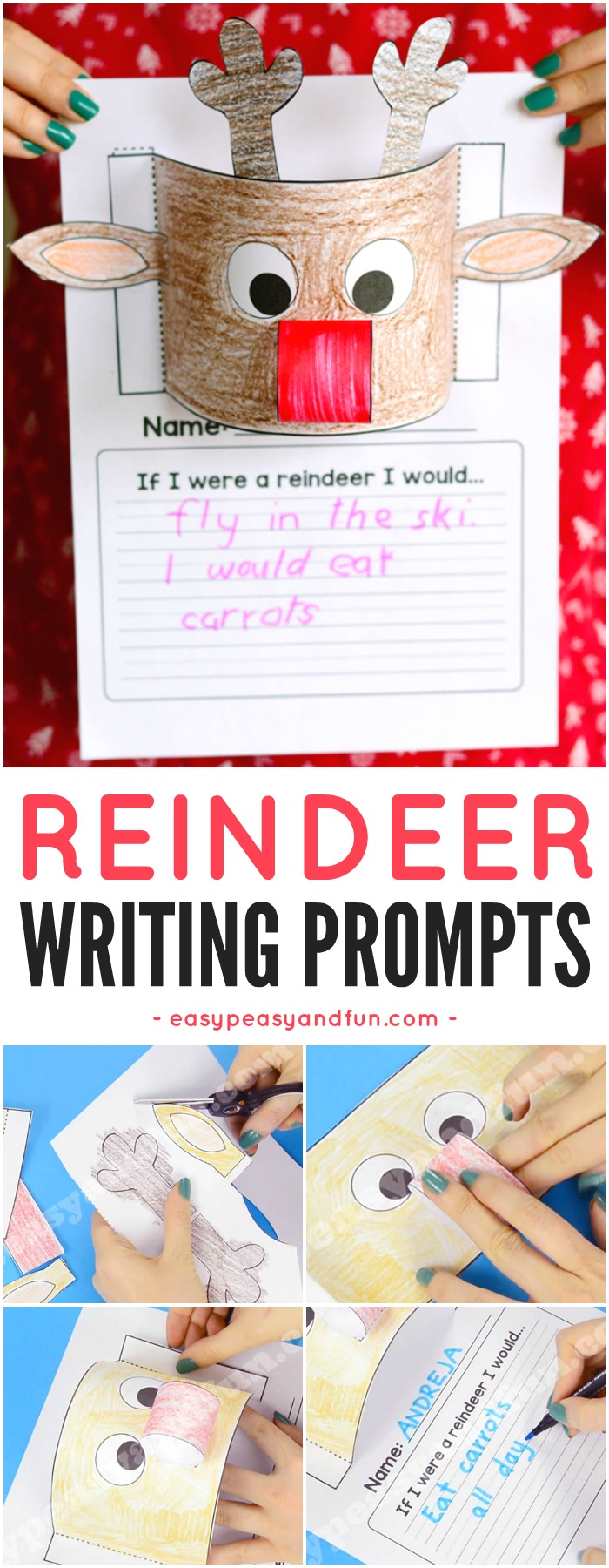Reindeer Writing Prompt and reindeer paper craft idea for kids to make.
