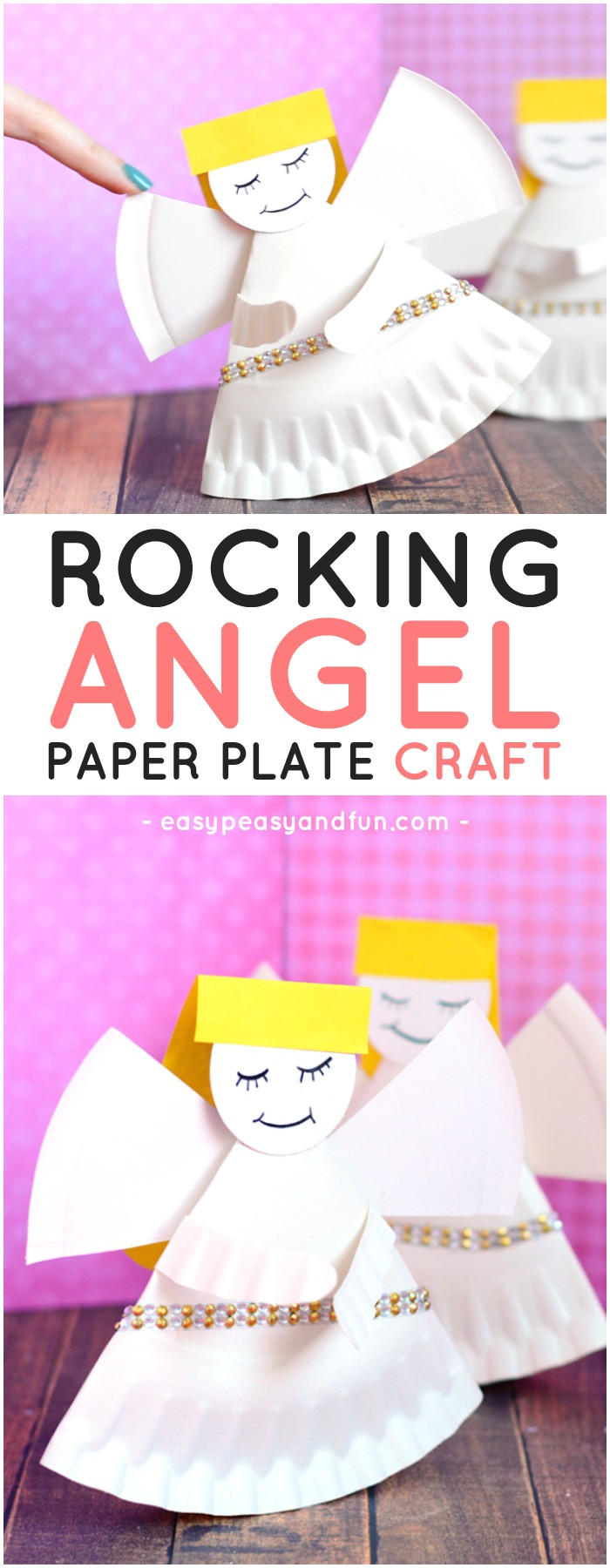 Rocking Paper Plate Angel Craft for Kids. Simple paper plate craft idea for kids to make.