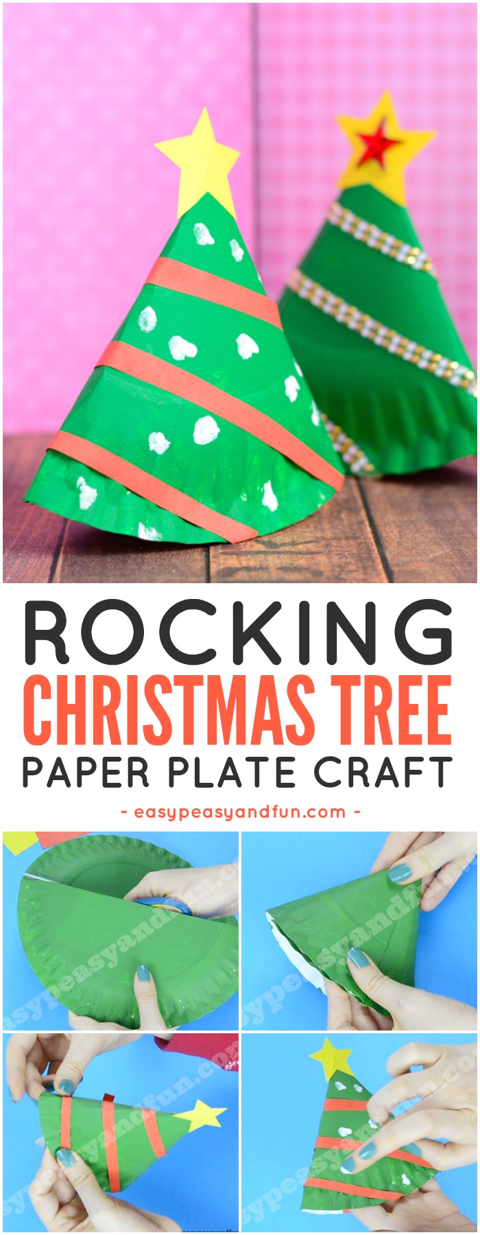 Rocking Paper Plate Christmas Tree Craft for Kids. Fun Christmas craft idea to do with kids.