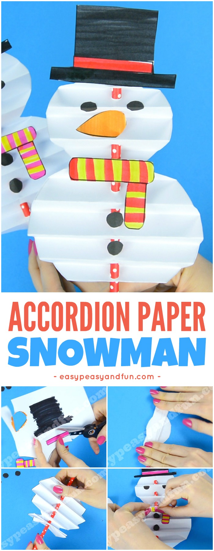 Simple Accordion Paper Snowman Craft for Kids. Super fun Winter craft idea for kids to make.