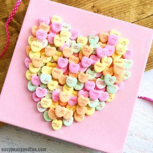 Conversation Heart Canvas Art Idea for Kids